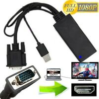 1080P VGA to HDMI + USB Audio Video Cable Adapter Converter Laptop PC DVD HD TV