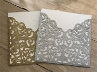 50x Personalized Luxury Laser Cut Wedding Party Invitation Cards Free Envelopes
