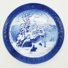 1967 Royal Copenhagen Blue Christmas Plate The Royal Oak Horse Riders in Snow