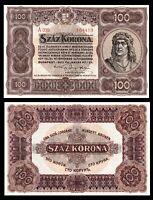 Hungary 100 Korona 1920 Pick 63  aUNC ** Portrait King Mátyás ***