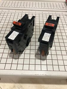 """Lot Of 2 30A FEDERAL PACIFIC FPE Stab-Lok 1 Pole 30 Amp 1"""" Wide BREAKER Type NA"""