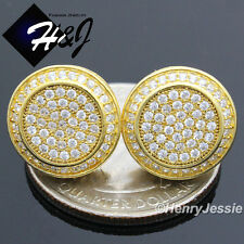 925 STERLING SILVER 13MM LAB DIAMOND ICED OUT BLING GOLD ROUND STUD EARRING*E62