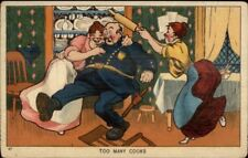 TOO MANY COOKS Women Fight Over Police Officer Cop c1910 Postcard