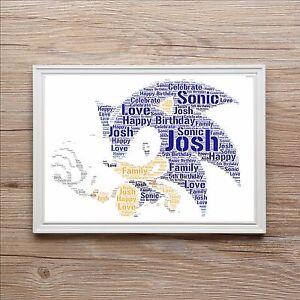 Sonic Birthday Christmas Personalised Word Art Print Gift Dad Grandad Son Santa