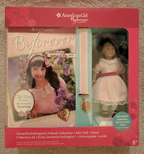 NIB-AMERICAN GIRL SAMANTHA BEFOREVER 3-BOOK COLLECTION & MINI DOLL+STAND+BOOKMAR