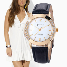 Geneva Women's Fashion Watches Crystal Diamond Analog Leather Quartz Wrist Watch