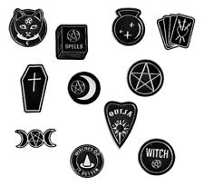 More details for spooky enamel pin badges gothic emo pagan wiccan pentacle halloween horror gift