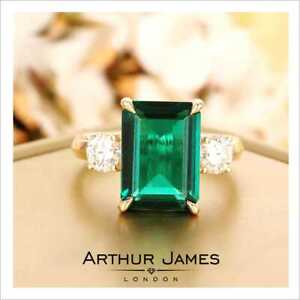 Vintage Green Emerald 3.5 Ct Diamond Women Engagement Ring Yellow Gold Jewelry
