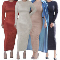 Women Ladies Bodycon Plain Long Dress Long Sleeve Kaftan Abaya Jilbab Maxi Robe