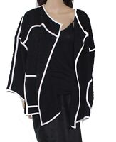 IC by Connie K Women Jacket Black Size 3X Plus Crinkle Piped Fly Away $208 #144