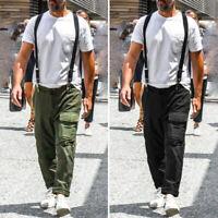 Men's Skinny Slim Fit Work Bib Pants Casual Cargo Workwear Punk Rock Trousers US