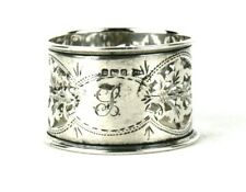 Antique Sterling Silver Napkin Ring Pierced Foliate Floral Ornament Walker Hall