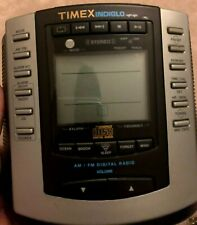 Timex Am/Fm Stereo Clock Radio With Cd Player Model T600B Digital Indiglo Used