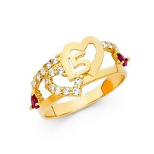Sweet 15 Anos 11mm Double Heart Band 14k Yellow Solid Gold CZ Quinceañera Ring