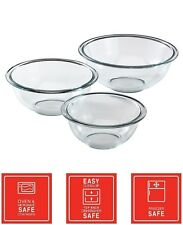 Value Pack 3-Piece Prep ware Round Glass Food Mixing Bowl set 1 1.5 & 2.5 Quart