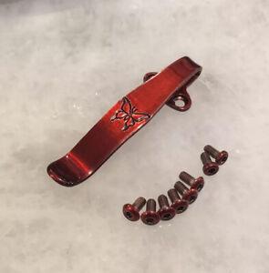 Red Titanium Deep Pocket Clip & Screws For Benchmade Super Freek 560BK-1 Knife