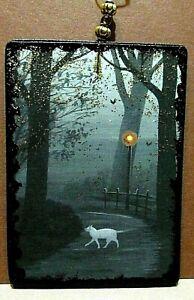 HALLOWEEN RYTA GLITTER ORNAMENT BLACK CAT Vintage Style Wood Art Ryta Ghost Folk