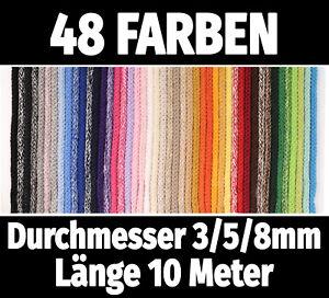 Kordel Baumwolle 10M Baumwollkordel Ø 3/5mm €0,62/m 8mm €0,72/m Schnur·48 Farben