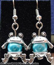 Tibetan Silver Frog Dangly Earrings with Turquoise Blue Glass Pearls *Cute Gift*