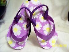 Circo girls flip flops with back stretch strap sz  M 7-8 purple daisy print NWOT