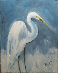 Egret. 10x8 inch Original oil painting by Roger Gelis