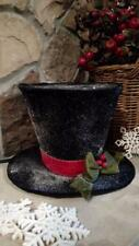 """NWT 9"""" FROSTY SNOWMAN TOP HAT Holly CHRISTMAS Table Decor Winter Snow Display"""