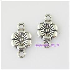 10Pcs Tibetan Silver Flower Charms Pendants Connectors 10x18mm
