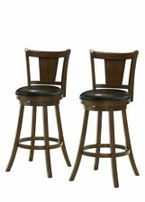 Set of 2 Swivel 30 Inch Bar Height Bar Stools, 1 Slat Back, PU Seat, Dark Brown