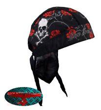 SKULL ROSES Bandana Kopftuch Headwrap Biker Chopper Cap V2 Harley Rocker Tattoo