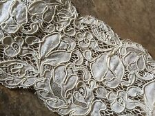 """Vintage White Lace Remnant Wedding Bridal Projects 17"""" 60's Costume Trim"""