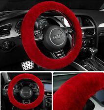 Universal Red Warm Car Wool Steering Wheel Cover Woollen Comfortable Soft Grips