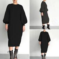Damen Langarm O Neck Kleid Pulloverkleid Sweatshirt Winter Plus Pulli Maxikleid
