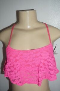 NWT HOLLISTER WOMENS GILLY HICKS MAGENTA PINK LACE RUFFLE CROP TOP BRALETTE XS