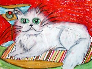 5x7 White PERSIAN drinking a Martini Cat Art PRINT of Painting Artwork by KSams