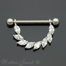 14G SILVER SURGICAL STEEL MARQUISE SIMULATED DIAMOND NIPPLE PIERCING RING BAR