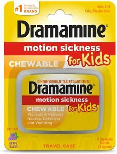 Dramamine Pack Of 8 Chewable Kids Travel Sickness Relief Grape Flavour 2-12 Age