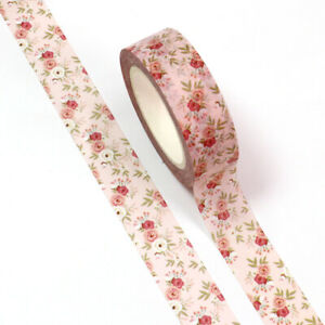 Pink Floral Pretty Paper Washi Tape - 15mm x 10m - Stationery Craft Journalling