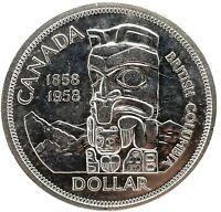 """1958 CANADA """"BRITISH COLUMBIA"""" SILVER DOLLAR HIGH QUALITY GEM BU. COIN #5"""