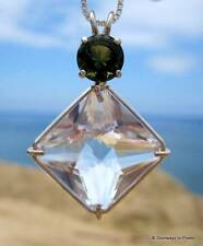 Clear Quartz Magician Stone & Moldavite Crystal Pendant Necklace