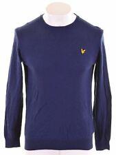 LYLE & SCOTT Mens Crew Neck Jumper Sweater Large Blue Cotton Slim Fit  LK02