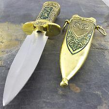 "11"" MEDIEVAL KING GOLD HISTORICAL SHORT SWORD DAGGER KNIFE w/ SHEATH Fantasy"