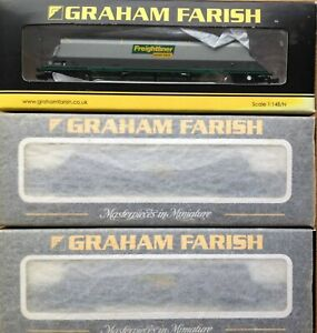 Three Graham Farish N Gauge Freightliner HAA bogie hopper wagons