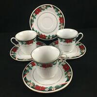 VTG Set of 3 Cups and 4 Saucers by Tienshan DECK THE HALLS Christmas Poinsettia