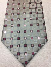 GEOFFREY BEENE MENS TIE GRAY AND SILVER WITH MAUVE AND PINK 3.75 X 59 NWOT