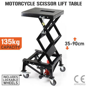 Motorcycle Scissor Lift Stand 135kg Hydraulic Motorbike Lifter Dirt Bike Jack