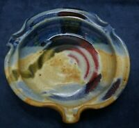 """Ayers Studio Ashtray Handcrafted Pottery Signed 2005 Blue Brown Red Tan 7"""""""
