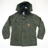 Carhartt C26 Artic Quilt Lined Hooded Coat Faded Green Workwear Grunge sz MEDIUM