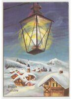 Night Christmas Card Vintage Gites Country Mountain Snowy Light Lantern