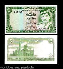 BRUNEI 5 RINGGIT P7 1986 SULTAN MOSQUE AUNC SINGAPORE CURRENCY MONEY BILL NOTE