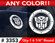 """TRANSFORMERS AUTOBOT GAS CAP DECAL STICKER 6 1/4"""" ROUND ANY COLOR"""